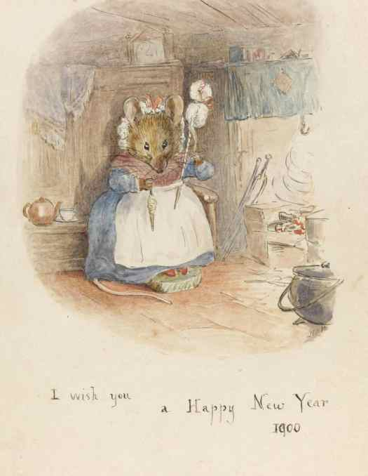 Beatrix Potter Mouse Hand-Spinning by the Fire, 1900, hearth