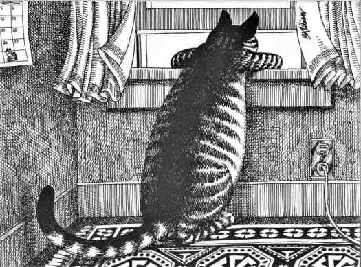 Ben Kliban, Cat Looking Out the Window from his calendar collection, 1970's