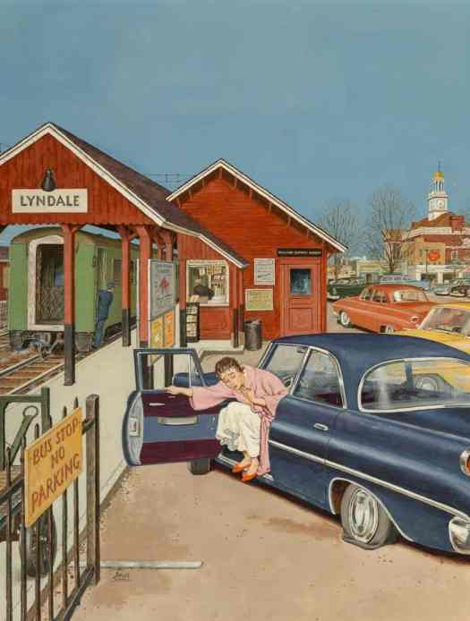 Flat Tire at the Commuter Station 1960 Amos Sewell (1901-1983)
