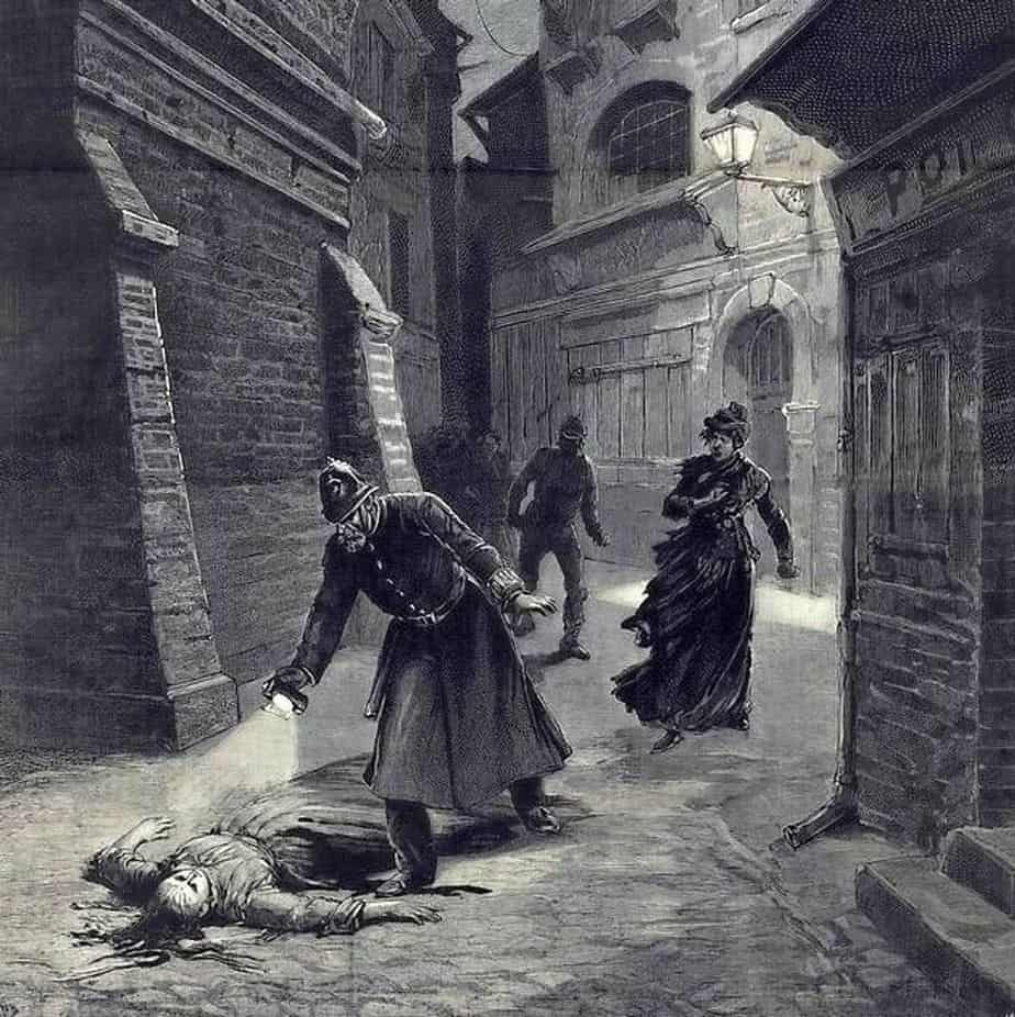 Fortuné Méaulle's (1844 - 1916) engraving after a drawing by Henri Meyer (1841 - 1899) 1891 for Le Journal illustré depicting the 10th Whitechapel Crime (the murder of Frances Coles on 13 February 1891)
