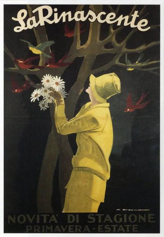 La Rinascente, sans date - Marcello Dudovich (1878-1962) woman bird