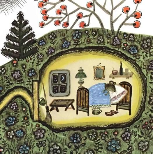 Yuri Vasnetsov (Russian,1900-1973) - Sweet little sleeping mouse in his underground house