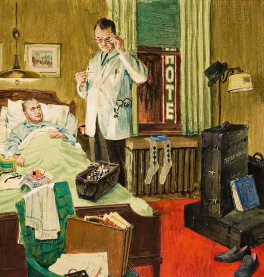 A Visit from the Doctor, Alex Ross (1908-1990), Medical Times