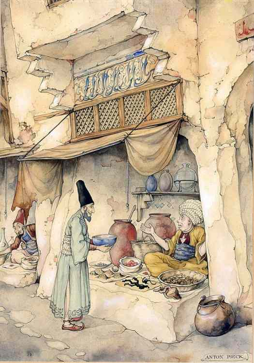 Anton Pieck (Dutch artist) 1895 - 1987 for The Arabian Nights, 'The Story of Mole', Sjamseddin visiting a chemist
