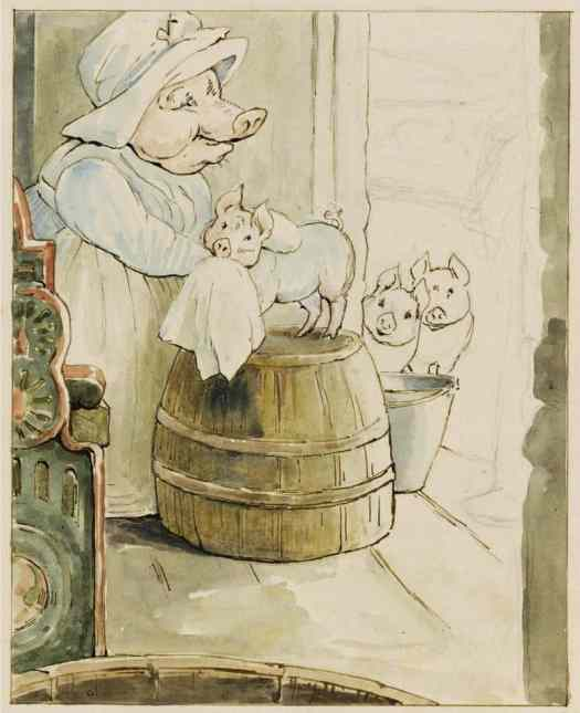 Aunt Pettitoes and Three Piglets, ca. 1910-1913 Beatrix Potter