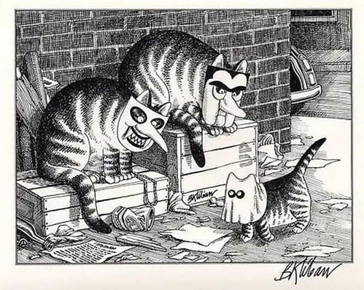 Bernard Kliban (American, 1935-1990), Halloween Cats in masks