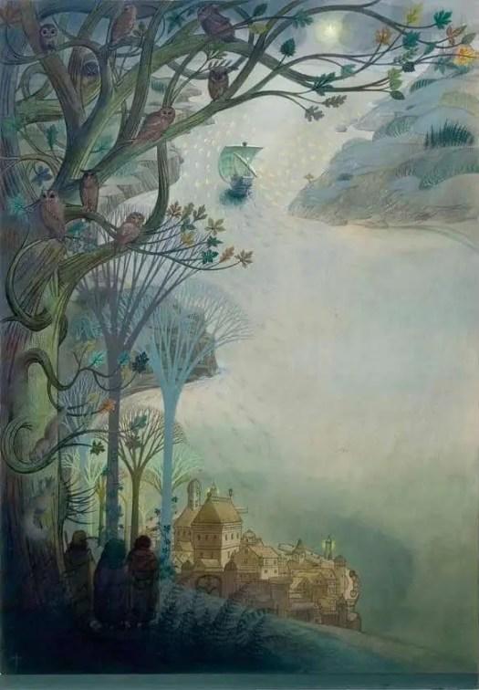 Bilbo's Last Song, 1974, Pauline Baynes; 1922-2008 river