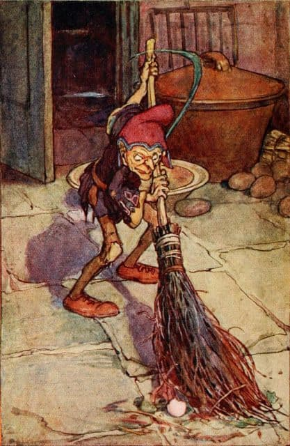 A brownie cleaning the house (I'm guessing at night). Artwork by Arthur Rackham. Brooms themselves are thought to have magical powers.