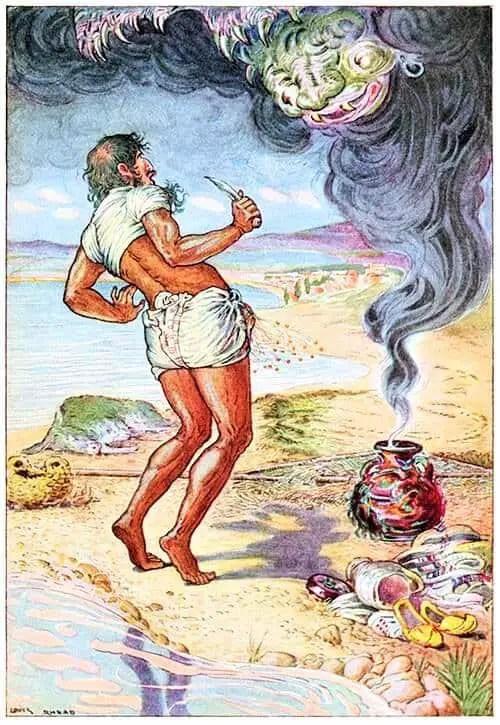 By Louis Rhead (1857 - 1926)--Illust. f. The Arabian nights' entertainments, Anonymous, n.d. 1916