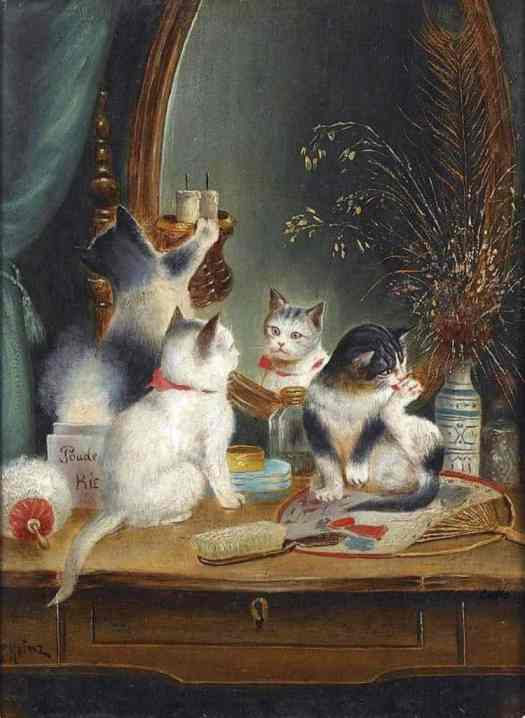 Cats in the Boudoir - Carl Reichert (1836- 1918, Austrian)