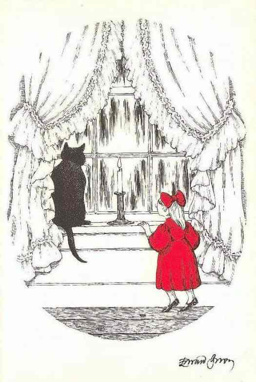 Christmas Card by Edward Gorey; 1925-2000, cat and girl looking out window