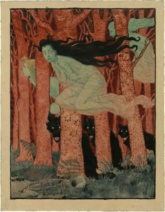 Eugene Grasset (1845-1917) Three women and three wolves (ca. 1900)