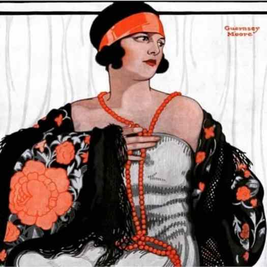 Flapper in Shawl and Beads by Guernsey Moore illustrated cover for Saturday Evening Post issue January 19, 1924 fashion