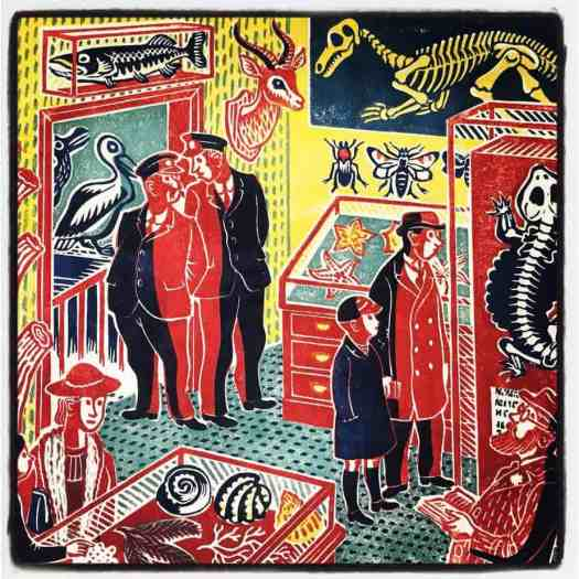 Four-color linocut of a Wunderkammer-style local science museum, featuring a mix of shells, fossils, skeletons, and mounted specimens by printmaker Stanley Hickson