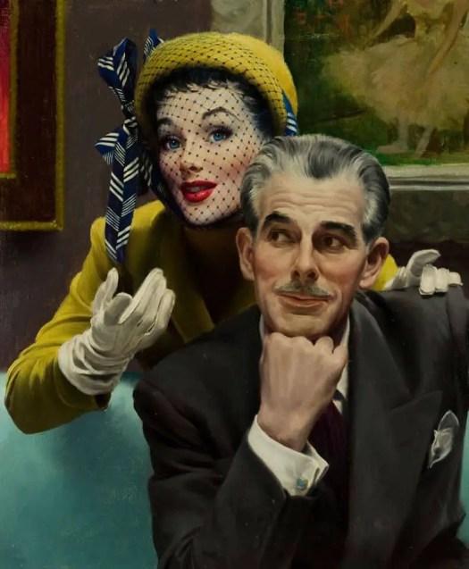 In the Art Gallery (detail) by Robert G. Harris (1911-2007) Cosmopolitan Magazine February 1950
