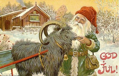 Jenny Eugenia Nystrom (1854-1946). The influence of the tomte on the modern image of Santa is clear in this picture. (Our earlier Santas also wore green coats rather than red.)