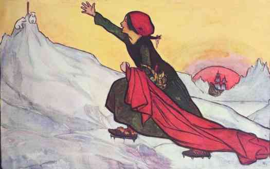 Luck Loo on her way to the North Pole to warm the polar bears with her red blanket. The drawing by Florence Harrison was for her book of poems, A Rhyme of a Run,1907