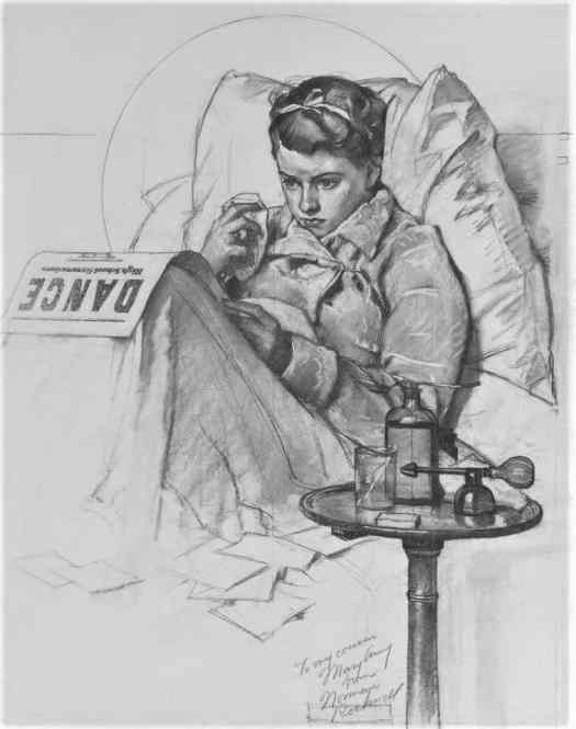 Norman Rockwell, Girl Sick in Bed, 1937 convalescence