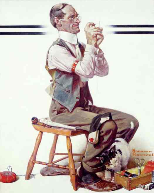 Norman Rockwell - Threading the needle (1922)