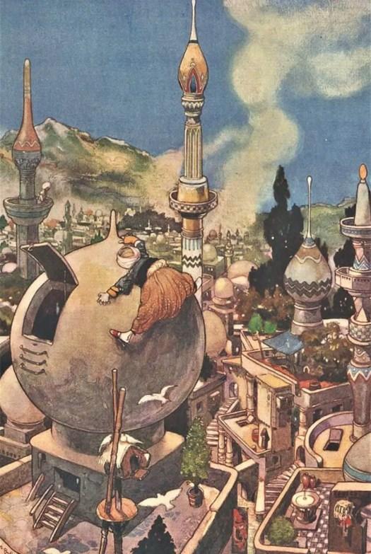 René Bull (1872 – 1942) 1912 illustration for Arabian Nights