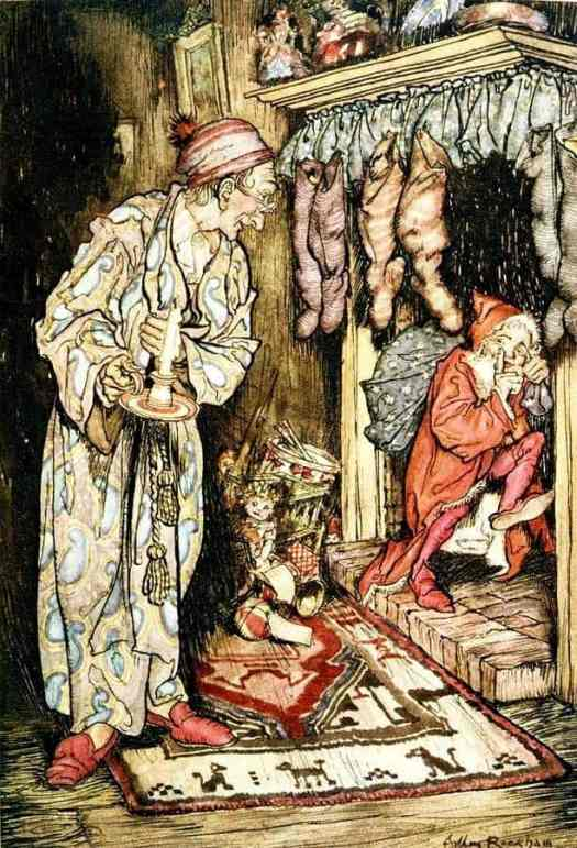 The Night Before Christmas (1931) by Arthur Rackham. Santa is pretty small in this one. The fact that he is a chimney demon is still in people's minds, if this illustration is anything to go by.