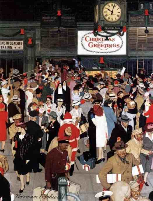Union Train Station, Chicago, Christmas shopping, 1944, Norman Rockwell