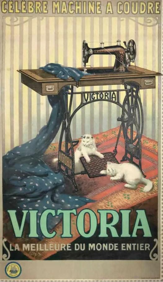 Victoria Sewing Machine advertising lithograph. Artist Imp. B. Sirven, circa 1903, France
