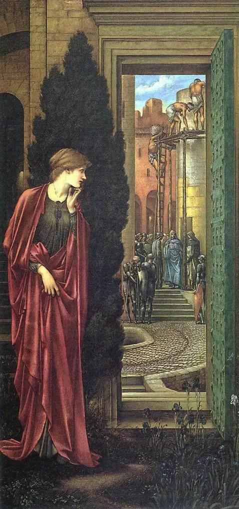 1887-88 Danaë and the Brazen Tower (aka The Tower of Brass), by artist Edward Burne-Jones.