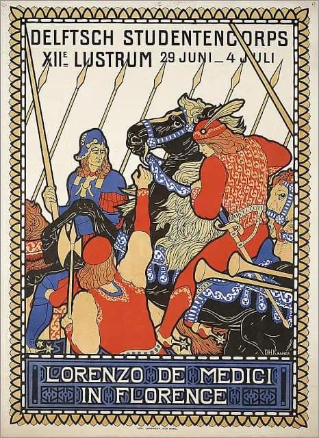 1908 Lorenzo de Medici in Florence, Secessionist style Dutch poster