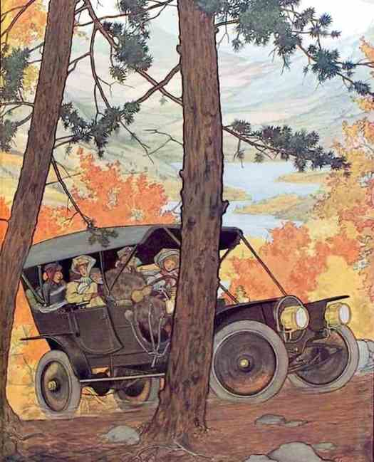 1909 Franklin Motor Car -Touring through the autumn woods