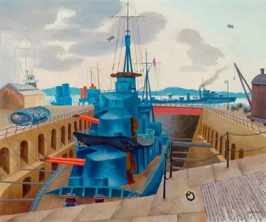 1940c Destroyer in Dry Dock oil on canvas 63.5 x 76 cm Cartwright Hall Art Gallery, Bradford, UK John Nash