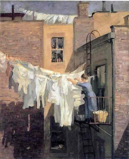 American Artist Illustrator John L Sloan 1912 A Womans Work NYC 1912 washing