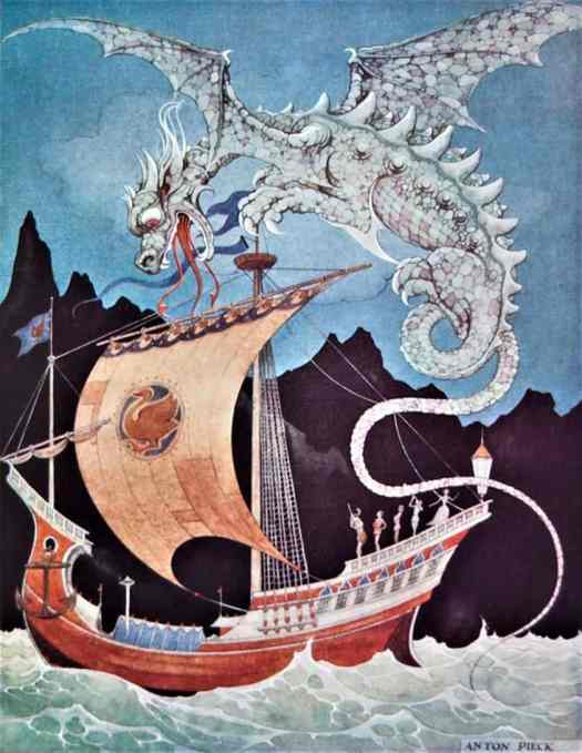 Anton Pieck (1895 - 1987) 1940 illustration for the Brothers Grimm's Book of Fairytales dragon ship