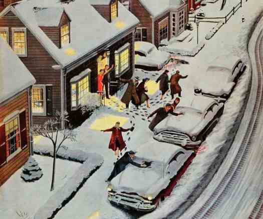 Ben Kimberly Prins (1902 - 1980) 1955 'Party After Snowfall' illustration for The Saturday Evening Post