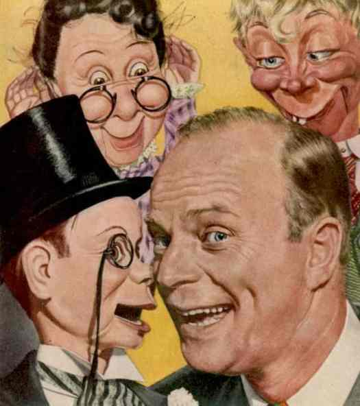 Boris Chaliapin Ventriloquist Edgar Bergen and his dummies. 1944 TIME cover art