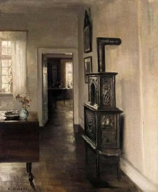 Carl Holsøe (Danish, 1863 - 1935) Interior with a Stove