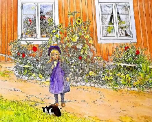 Carl Larsson, kunstenaar, brita, en katt och en smorgas, Brita, A Cat and a Sandwich