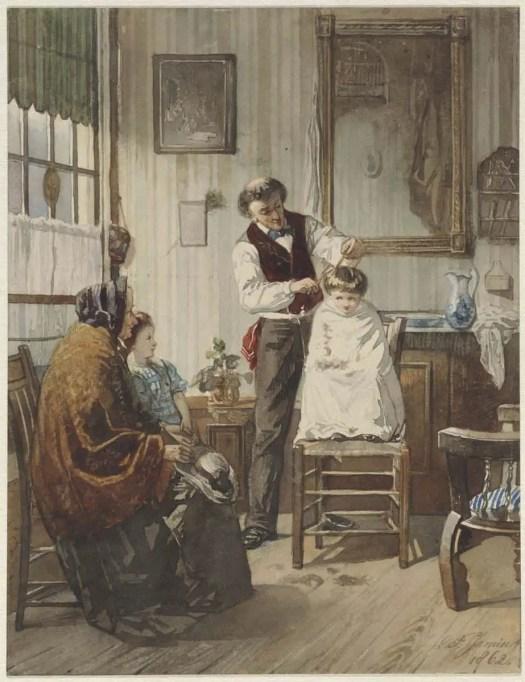 Child at the hairdresser, Diederik Franciscus Jamin, 1862