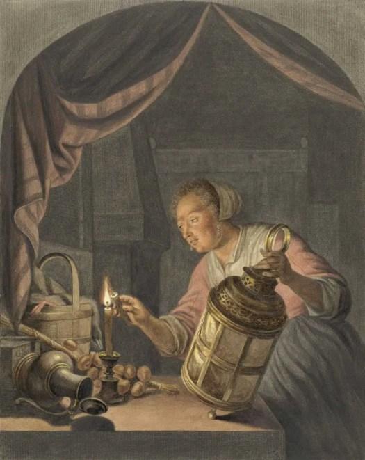 Girl lighting a lantern, Abraham Delfos, after Gerard Dou, 1795 lighting