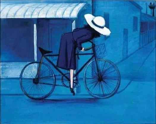 Girl on bike by Charles Blackman-1953