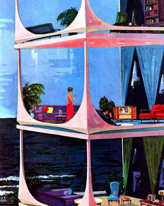 Illustration by Bertels in Saturday Evening Post 8 April 1961 glass house