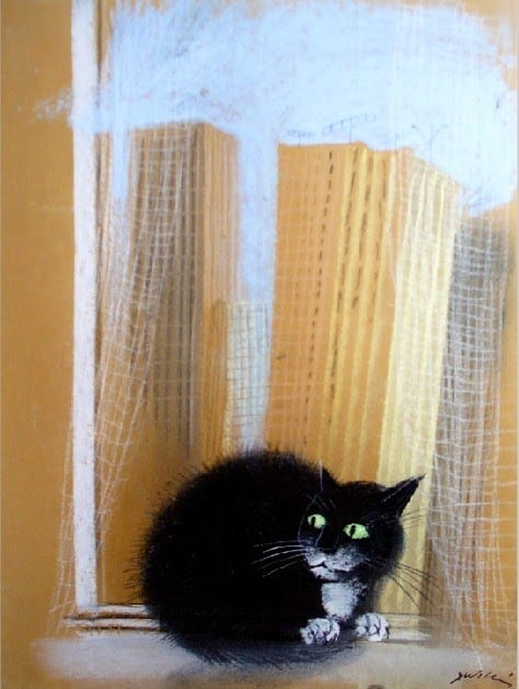 Józef Wilkon's cat does not look out of the window.