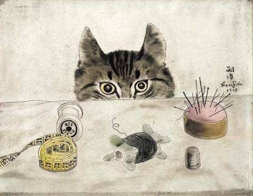 Leonard Tsuguharu Foujita (1886-1968), French painter, cartoonist and engraver of Japanese origin. Is this one meant to be cute? Maybe some contemporary viewers think so, but I feel it has a distinctively early 20th century creepiness about it.