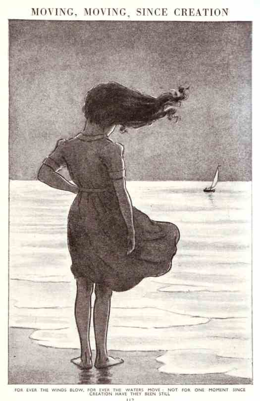 Looking out to sea, From 'The Children's Encyclopedia' published by Arthur Mee