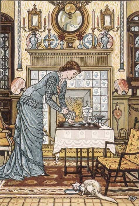 'My Lady's Chamber' by Walter Crane 1900 The frontispiece for The Baby's Bouquet cat