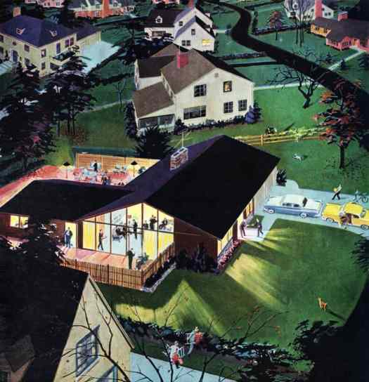 Party in Suburbia - detail from 1957 Calvert Reserve whiskey ad. by Roger Wilkerson