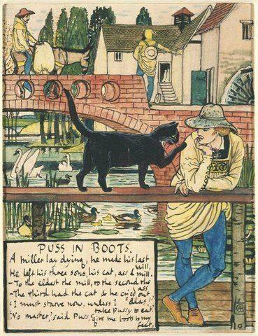 'Puss in Boots' book illustration by Walter Crane, produced in 1873