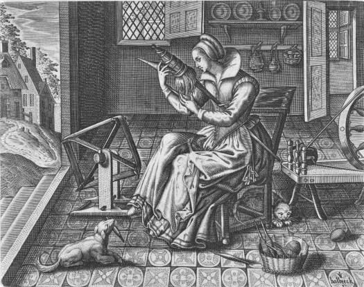 Spinster in een interieur, Jan van Halbeeck, 1600 - 1630