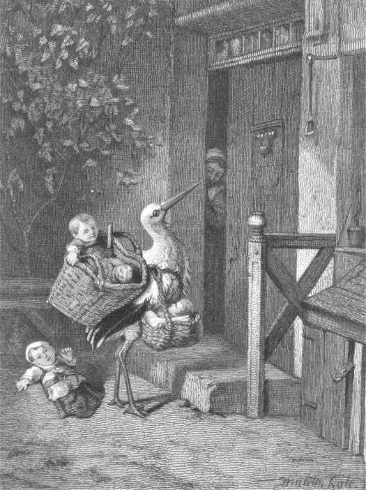 Stork with babies at a front door, Edouard Taurel, after Mari ten Kate, 1846 - 1892
