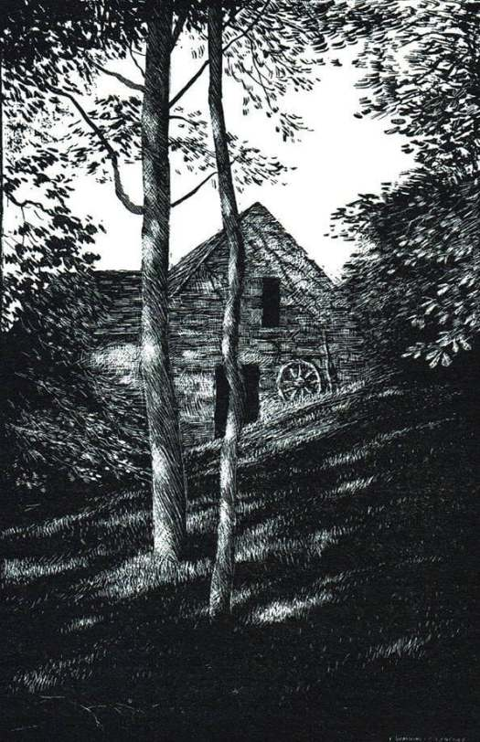 Summer Road to Wales, 1964, D J Watkins-Pitchford (Illustrator) barn shadow